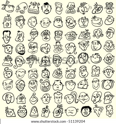 emotions faces cartoon. faces, doodle cartoon