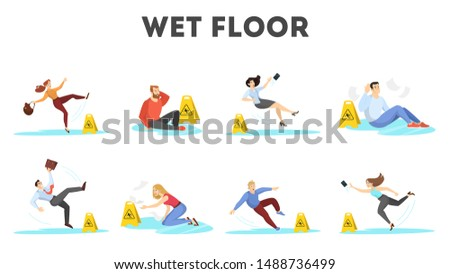 People falling on the wet floor set. Caution sign, warning slippery floor. Injury and accident. Isolated vector illustration in cartoon style