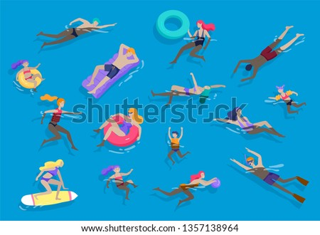 People family and children in sea, pool or ocean performing activities. Men or women swimming in swimwear, diving, surfing, lying on floating air mattress, playing ball. Cartoon vector illustration