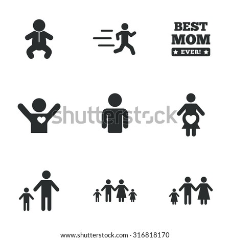 People, family icons. Maternity, person and baby signs. Best mom, father and mother symbols. Flat icons on white. Vector