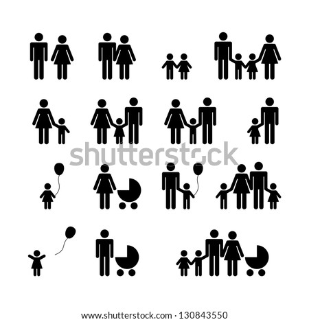 People Family Pictogram. Set web icon