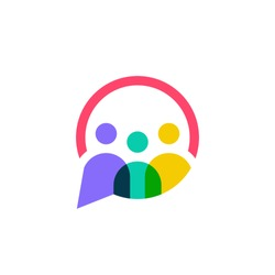 people family together human unity chat bubble logo vector icon