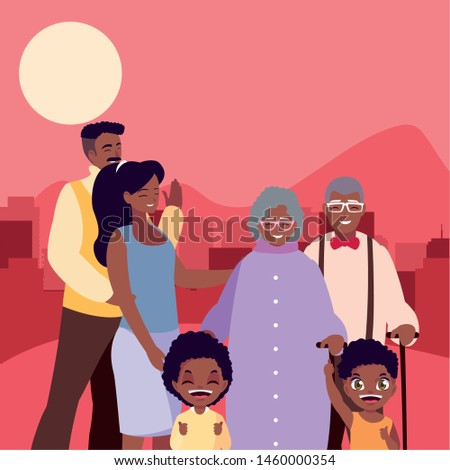 people family together in the city street
