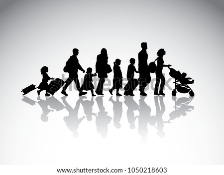 People family travel silhouette symbol.
