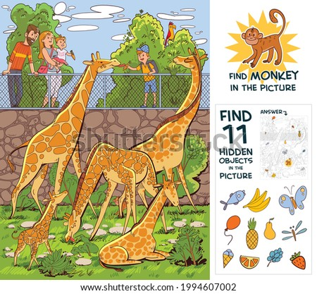 People feed giraffes at the zoo. Find monkey. Find 10 hidden objects in the picture. Puzzle Hidden Items. Funny cartoon character. Vector illustration. Set