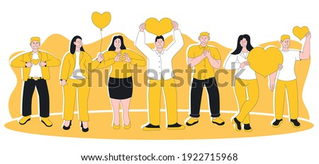 People feeling sincere grateful and appreciation emotion. Pleased positive happily smiling man woman with hand on chest and heart showing gratitude and kindness expression vector illustration Сток-фото ©