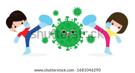 people fight with coronavirus (2019-nCoV), cartoon character man and woman attack COVID-19 ,children and Protection Against Viruses and Bacteria, Healthy lifestyle concept isolated on white background