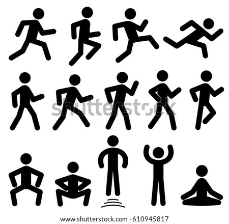People figures in motion, running, walking, jumping vector black icons. Sportsman training motion, illustration of silhouette sportsman.