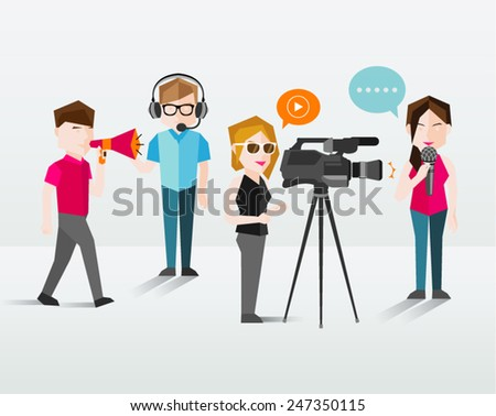 people filming and talking
