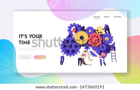 People Fixing Broken Clock and Watch Website Landing Page. Tiny Men and Women with Tools Repair Huge Gears and Cogwheels Mechanism. Time Concept Web Page. Cartoon Flat Vector Illustration, Banner
