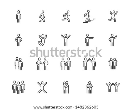People flat line icons set. Person walking, running, jumping, climbing stairs, happy man, company leader, friends hugs vector illustrations. Human outline signs. Pixel perfect. Editable Strokes.
