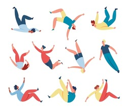 People floating, soaring in air or sky, person flying in space. Men and women characters sleep and fly in dreams or imagination vector set. Creative free flight, active leisure time