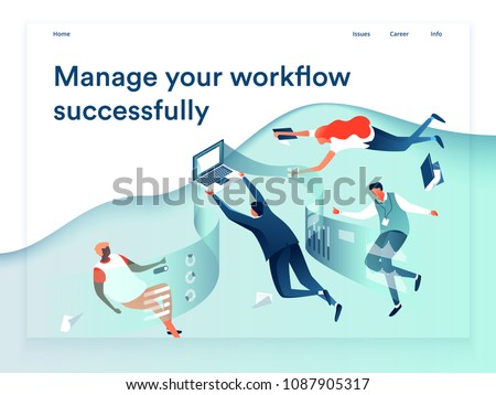 People flying and interacting with graphs and papers. Business and workflow management. Landing page template, 3d isometric vector illustration.