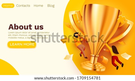 People flying around golden giant champion cup. Winner, teamwork or success concept. Modern flat vector illustration.