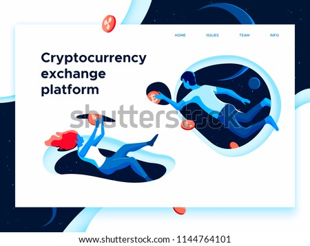 People flying in the open space and exchanging cryptocurrency via portals. Blockchain technology theme. Isometric vector concept of a landing page.