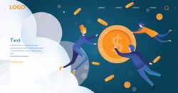 People flying in the space and exchanging money, cryptocurrency, money growth. Blockchain technology theme, business people communicating, vector illustration.