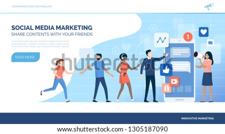 People following a successful social media marketing campaign on a smartphone, business and communication concept