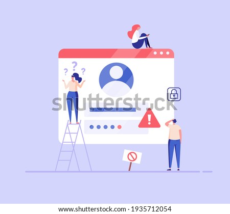 People forgot the password. Concept of forgotten password, key, account access, blocked access, protection, account security. Vector illustration in flat design for web page, landing, web banner