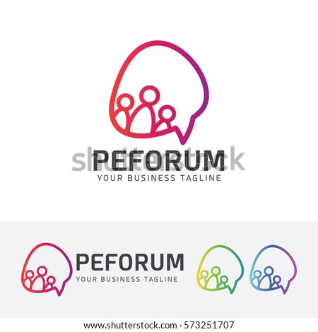 People Forum, community, communication, technology, line, social. Vector logo template