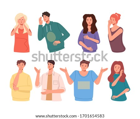 People friends characters tell rumors gossip. Vector flat cartoon graphic design illustration set collection Foto stock ©