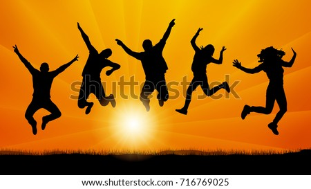 people friends jumping at