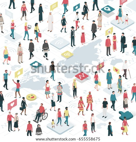 People from all over the world connecting together: communication, technology and social media concept