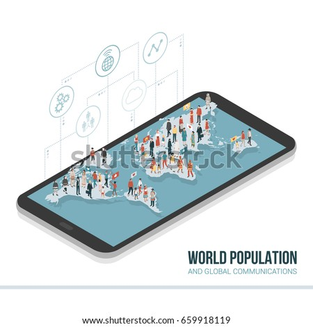 People from all over the world connecting together on a smartphone: global communication, sharing and technology concept