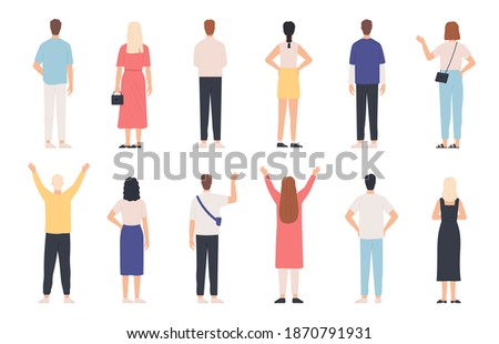 People from behind. Adult man and woman back view standing poses. Happy person with hands up and waving. Rear human in clothes vector set. Female and male characters in casual outfit Stock photo ©