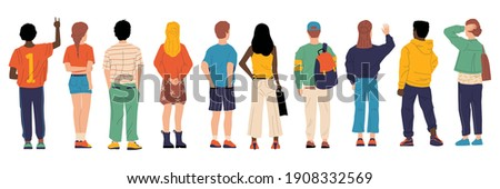 People from behind. Man and woman person's back, young cartoon characters standing together, crowd male and female from back side with bags vector group of boy and girl backside flat isolated set Foto d'archivio ©