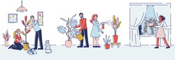 People Gardening at Home. Happy Family Couple Homework with Plants. Man and Woman Characters Caring of Flowers, Removing to another Pot, Watering from Can. Cartoon Flat Vector Illustration, Line Art