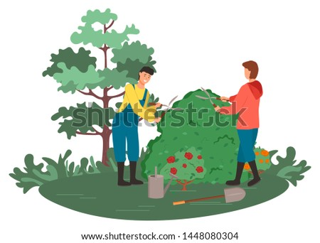 People gardening vector, man and woman with scissors and tools. Instruments in hands of gardeners, trees and nature, bushes of roses hobby of couple