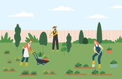People gardening, woman and man farmers agricultural workers growing plants and flowers on lawn or backyard. Character pulling wheelbarrow with pots, man working with scissors vector illustration