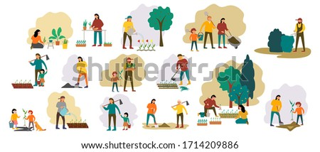 People gardening. Woman planting gardens flowers, agriculture gardener hobby and garden job. Gardening person, gardener flowers cutter working. Family works in the garden. Flat vector icons set