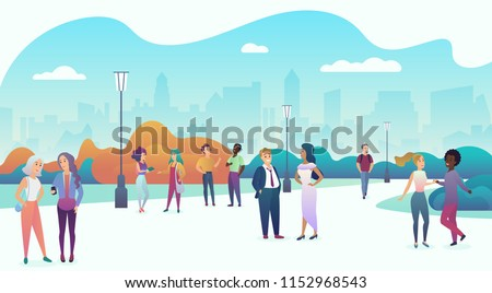 People gathering and communicating in the city urban park square landscape. Talking in nature together, community and modern lifestyle concept. Trendy gradient flat color vector illustration.