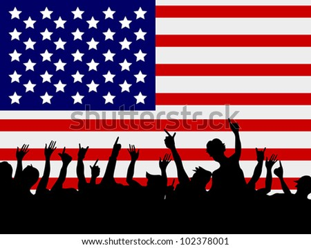 people gathering in front of USA flag