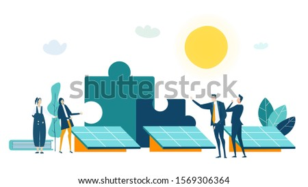 People generating solar energy. Alternative energy sources, eco friendly future, safe the planet concept. Business concept illustration