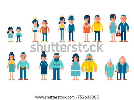 People generations in a flat style isolated on white background. Vector flat illustration,  cartoon style.
