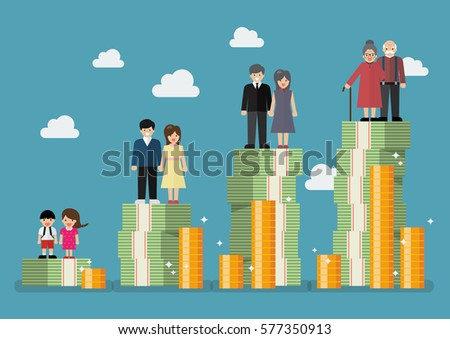 People generations with retirement money plan. Vector illustration