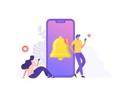 people get chat messages notification on mobile phone. people turn on notification on social media for up to date. can use for landing page, template, ui, web, homepage, poster, banner, flyer