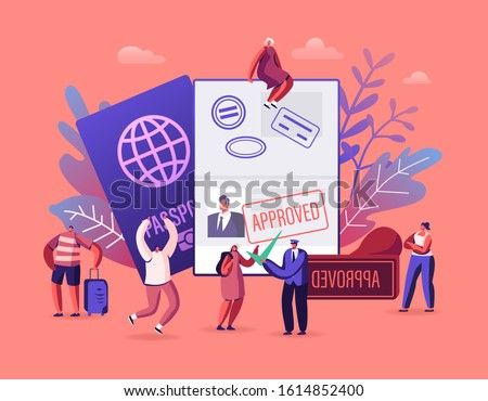 People Getting Visa Concept. Travelers and Tourists Making Document for Leaving Country and Travel Abroad. Foreign and Native Passport, Traveling Immigration Stamp. Cartoon Flat Vector Illustration
