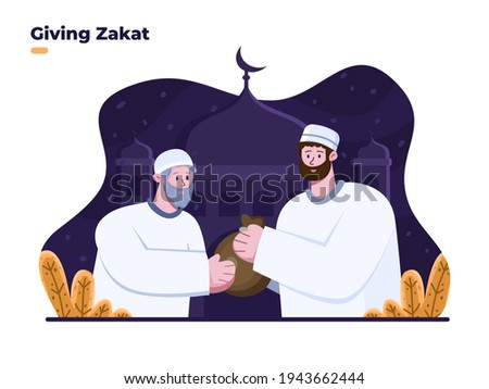 People giving zakat to old man at ramadan month. Give charity to the other person. Almsgiving illustration. Giving food or zakat to people. Zakat for poor people. Ramadan month activities. eid al fitr