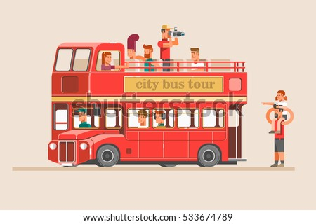 People go on the red tourist bus and take pictures of landmarks. 3d vector illustration.