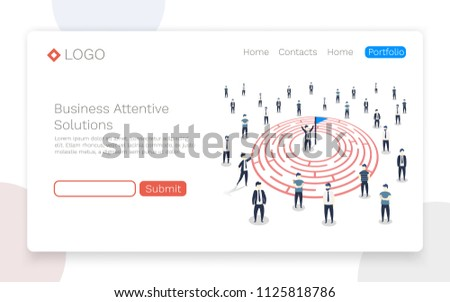 People go to the goal in the labyrinth. Vector illustration