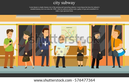 people go to the subway. vector illustration.