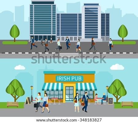 People go to work horizontal banner with business office building isolated vector illustration