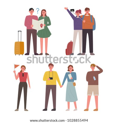 People going on a trip. hand drawing style vector illustration flat design