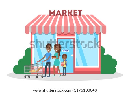 People going out of the supermarket with food. Cute store building in the city. Isolated flat vector illustration