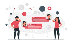 People got bad feedback from buyers. Man and woman receiving negative comments from consumers concept vector illustration