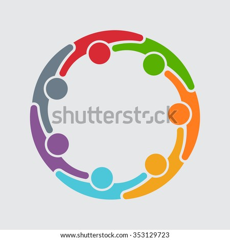 People graphic of 7 persons in circle. Vector design