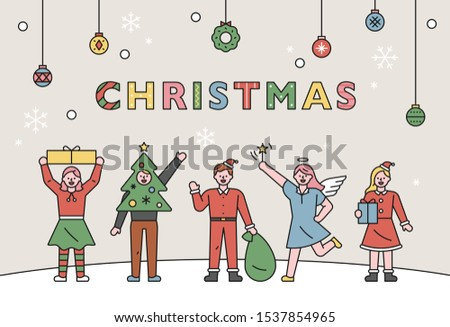 People greet in various Christmas costumes. Promotional Template. flat design style minimal vector illustration.